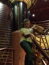 Me on one of the dramatic staircases of the HAL Veendam