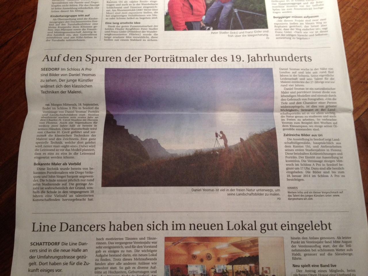 Inner article: (Neue Obwaldner Newspaper) Dec. 2013