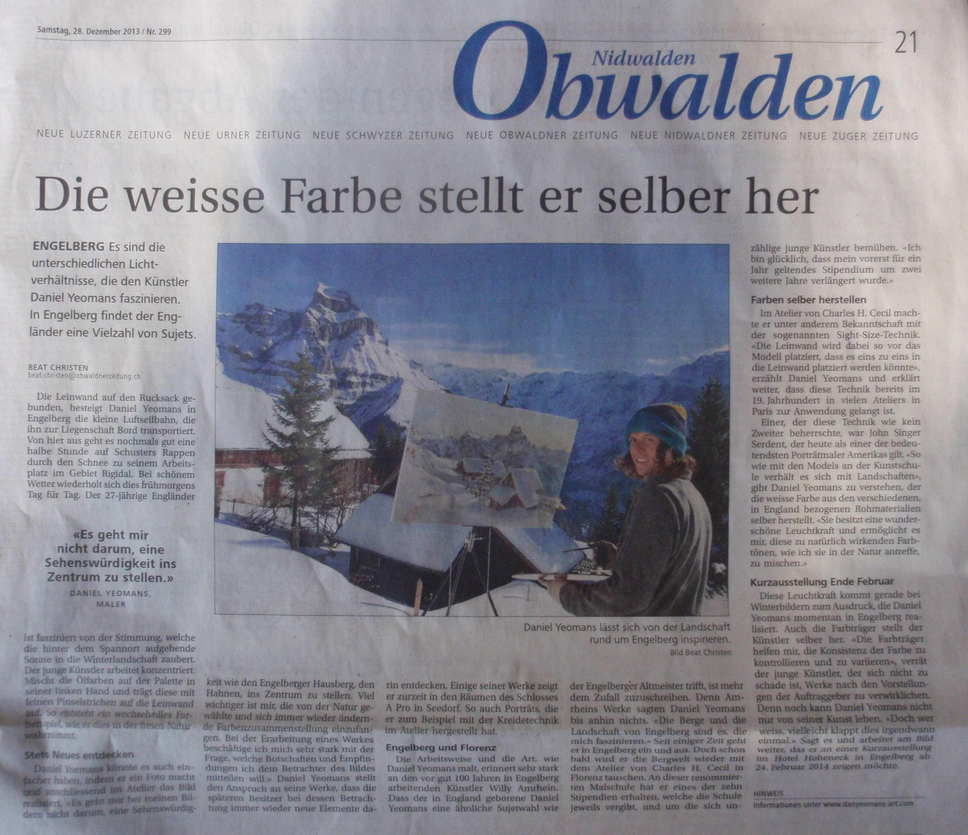 Front Page: (Neue Obwaldner Newspaper) Dec. 2013