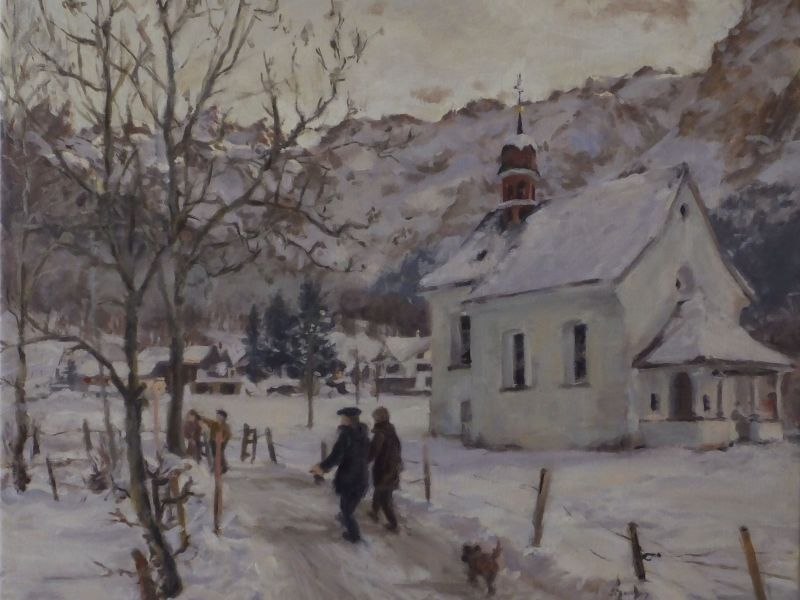 Oil landscape: A drop of December light at the chapel
