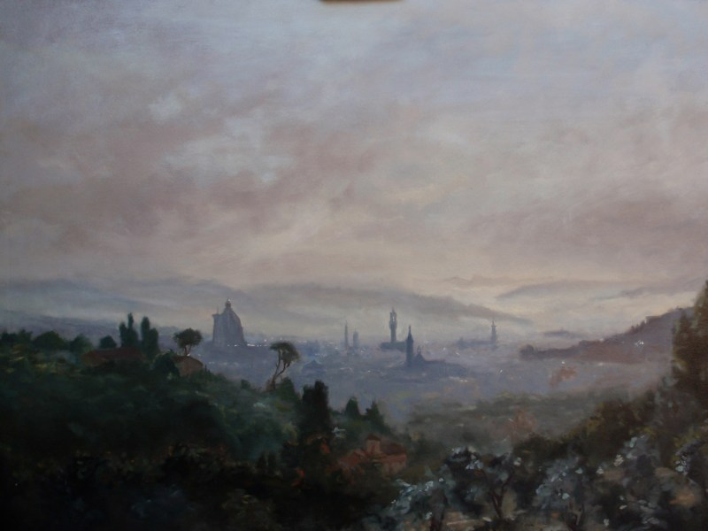 Oil landscape: Florence - Sunrise in the mist