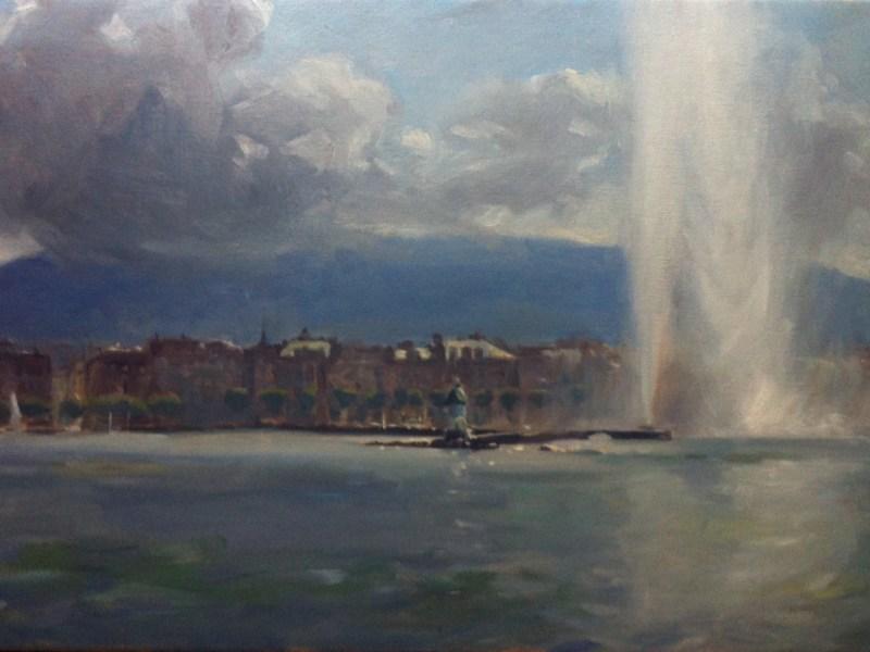 Jet d'eau, oil painting of geneva