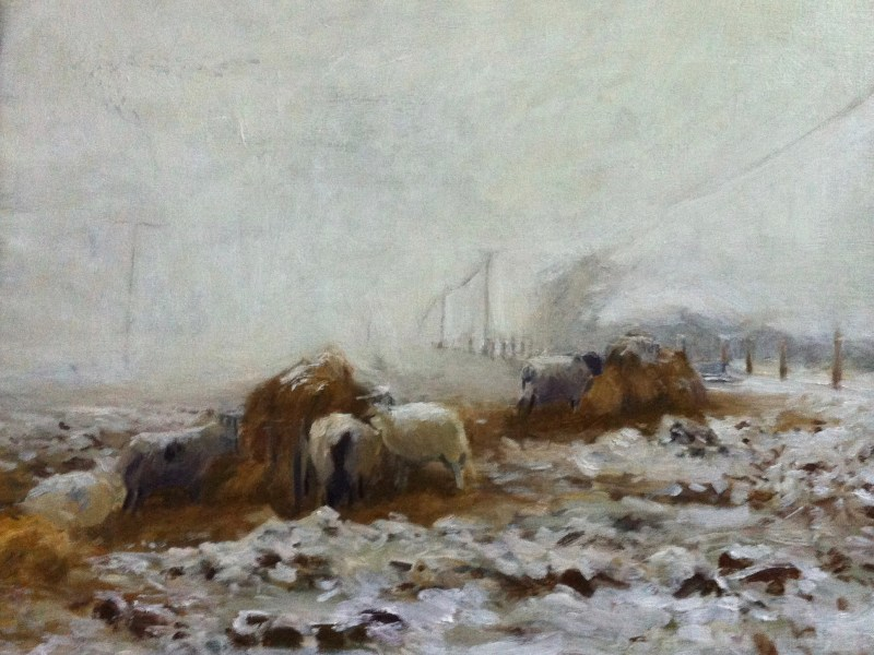 oil painting of sheep feeding in the snow