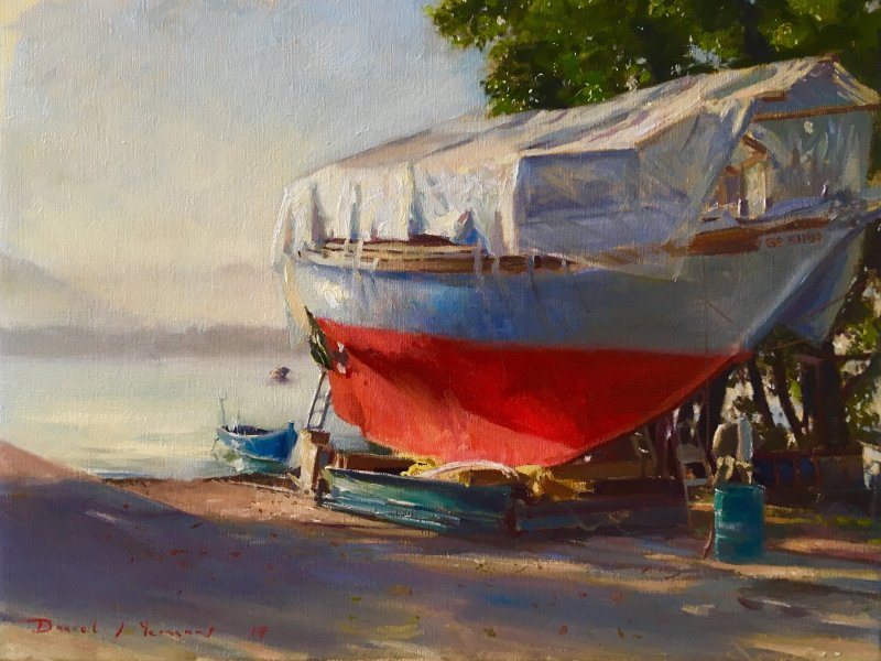 oil painting of early morning at the boatyard - lac leman