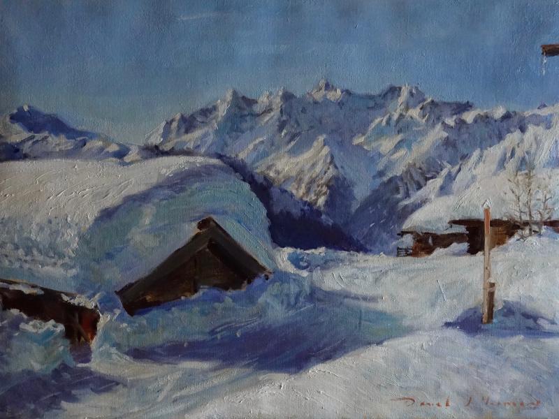 Artist painting Verbier