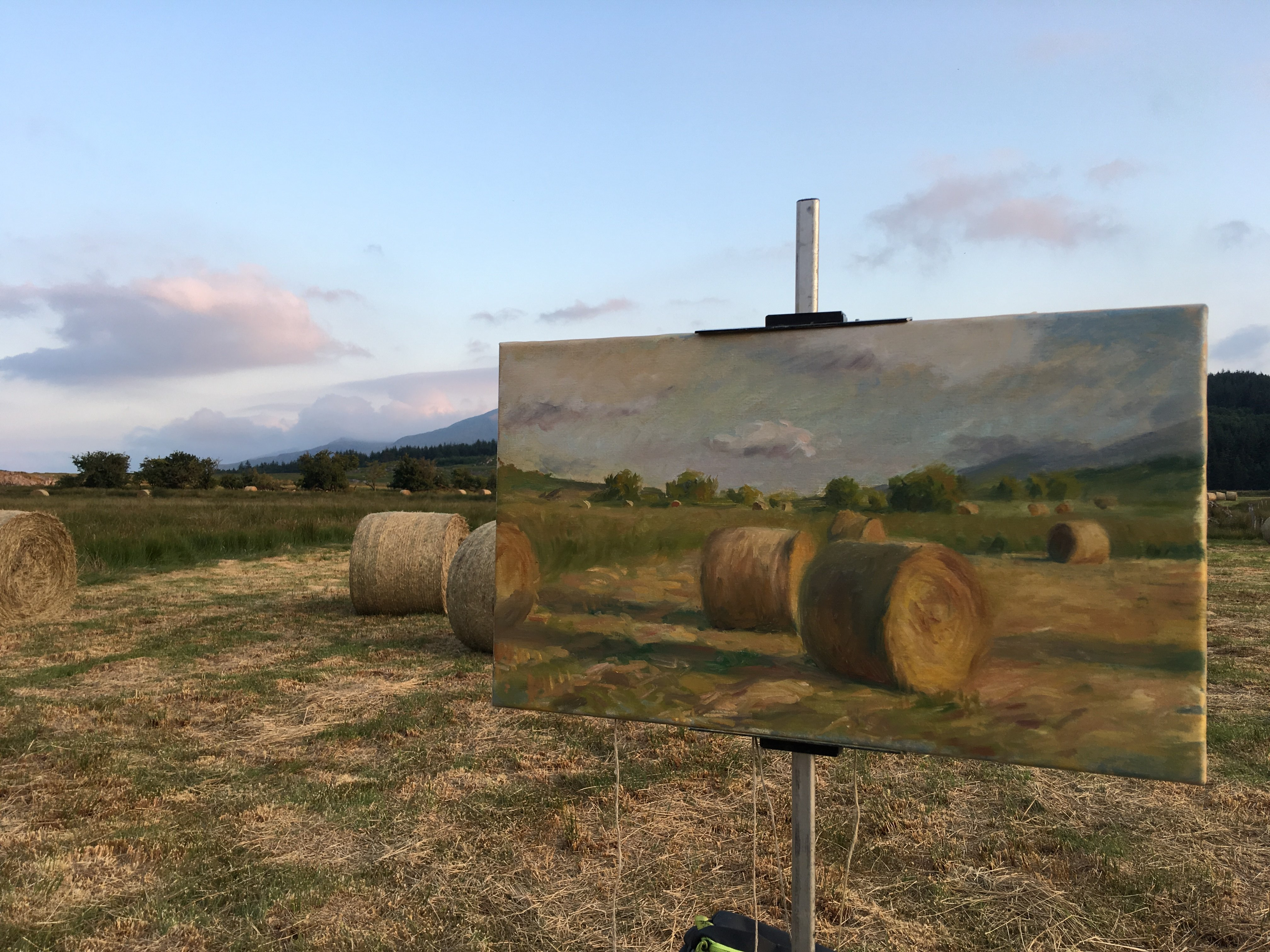 Painting Hay bales at the food of Snowdon, Snowdonia National Park