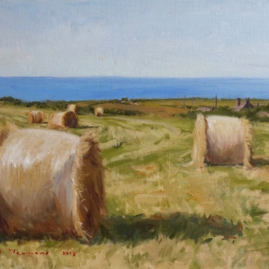 Oil piainting of Haybales on Anglesey overlooking the Irish Sea