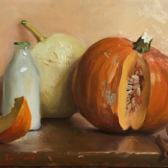 still life painting of pumpkin pie with milk cinnamon and eggs