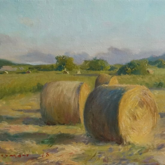 Oil painting of Haybales by sunset at the foot of Snowdon