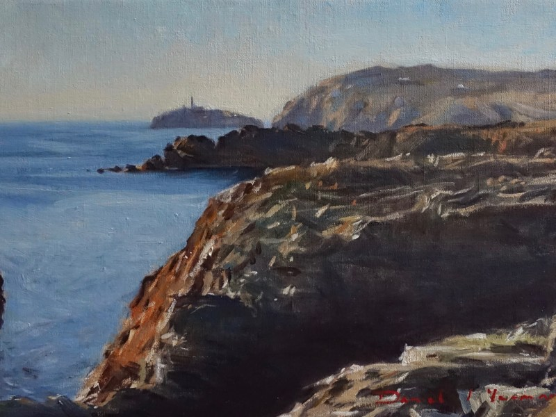 Oil painting looking towards South Stack, Anglesey