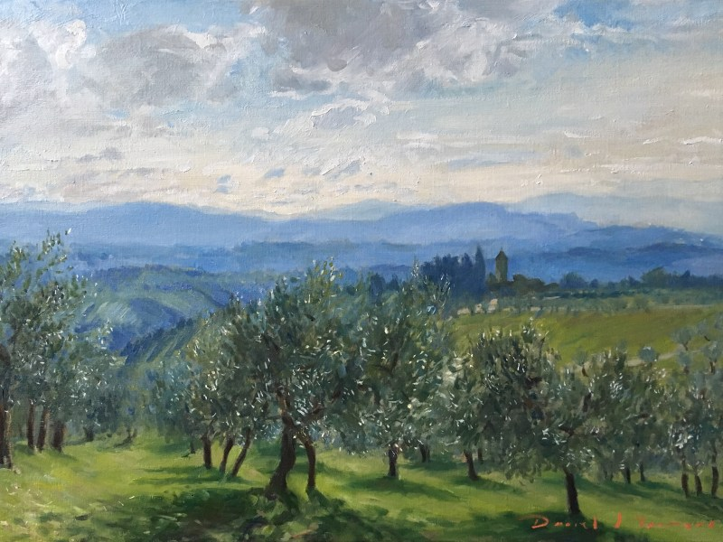 oil painting of olive trees overlooking toscana in Winter sunlight