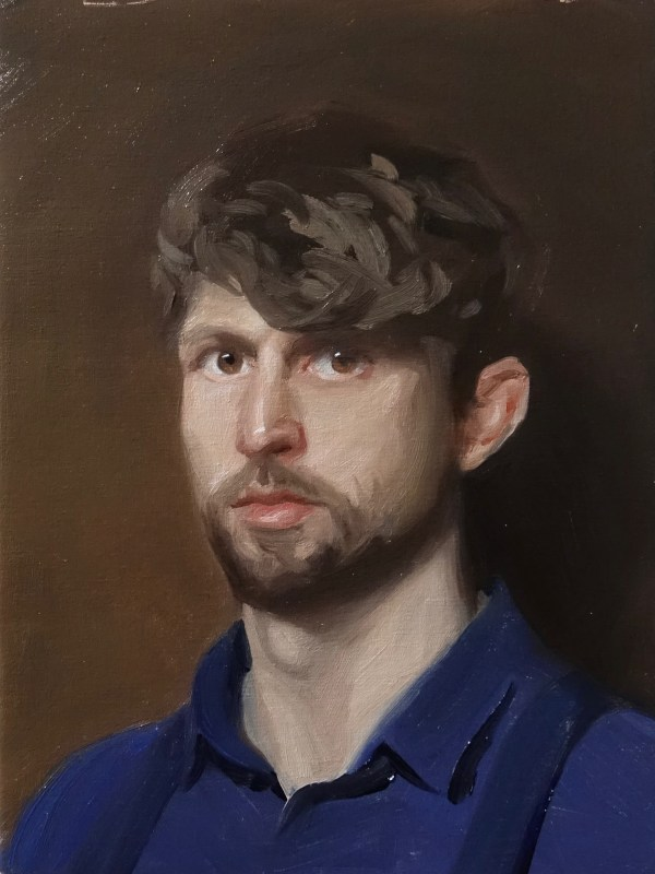 Self portrait in oils on canvas b yDaniel James Yeomans, Wales