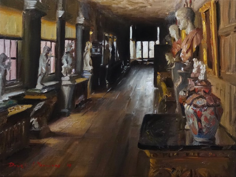 An oil painting titled ' The 12 Caesars' of the Long gallery at Powys Castle