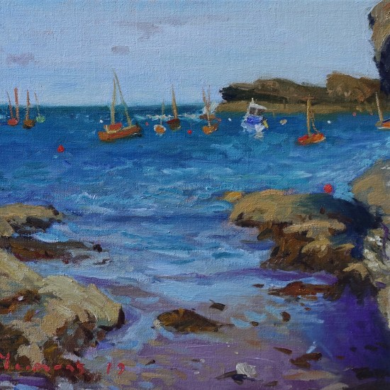 oil painting of Anglesey, boats awaiting the regatta