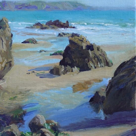 A painting of rocks and water on Marloes Sands, Pembrokeshire