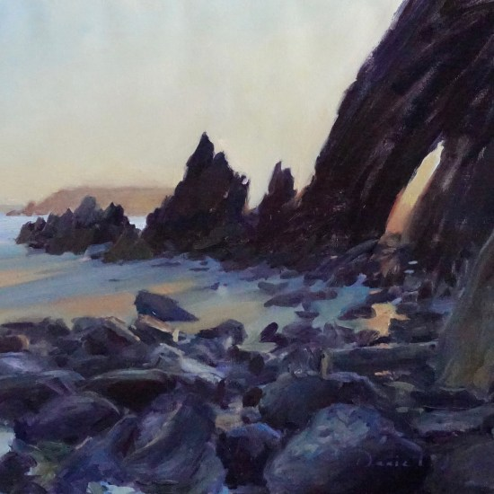 oil painting of the sun setting behind rocks on Marloes Sands beach, Pembrokeshire