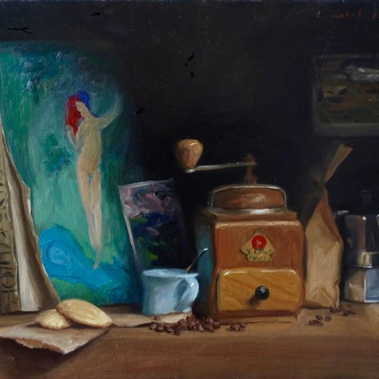 a still life oil painting of artists inspiration on the shelf