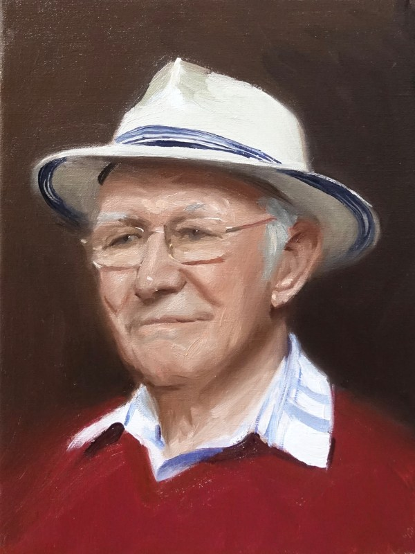 a portrait of Grandad, painted ' alla prima' from life over 2 days