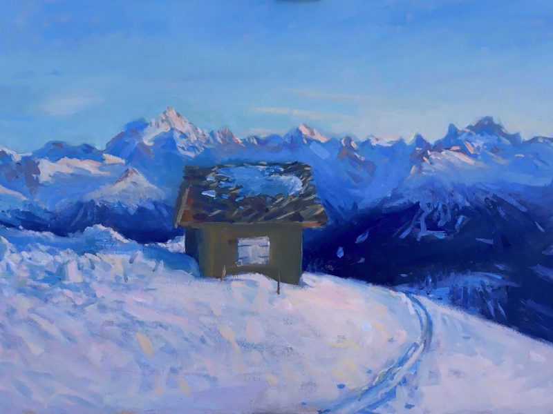 painting of Chetzeron in Crans Montana