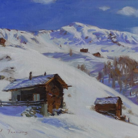 oil painting of mountain huts in La Sage, Switzerland