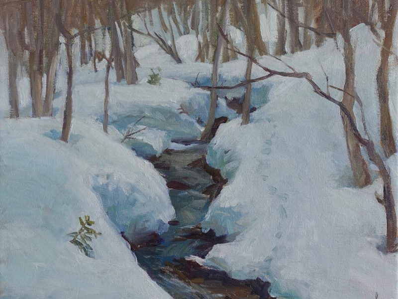 oil painting of a winter stream in the woods. Champery by Daniel J Yeomans
