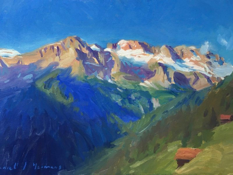 oil painting of the Dents Blanches in Champery