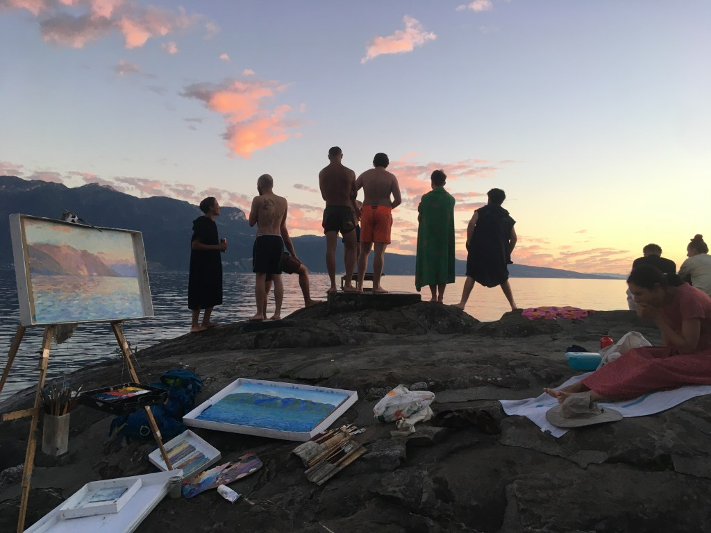 painting the sunset by Lac Léman