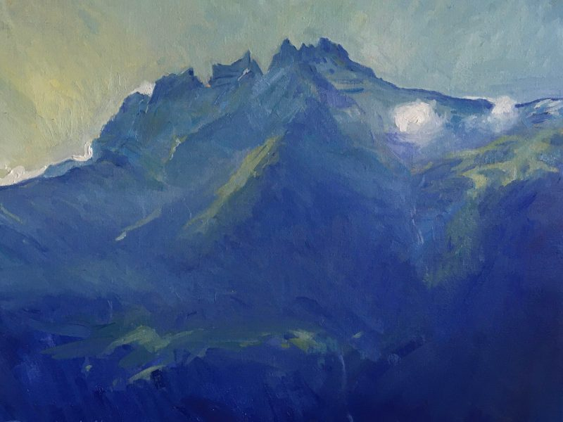Oil painting of Les Dents Du Midi
