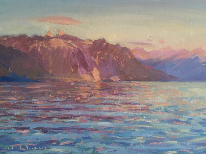 Oil painting of Lac Leman with Sunset