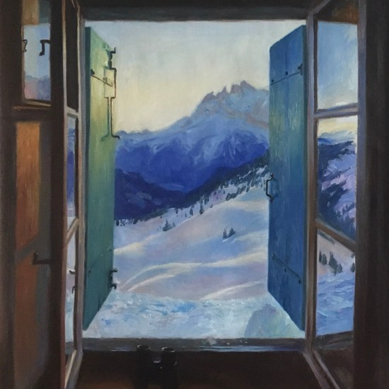A Cabin View of Dents du Midi. Oil painting on canvas