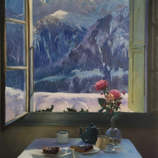 oil painting of Tea and cake with a view over les rives & dents Du midi