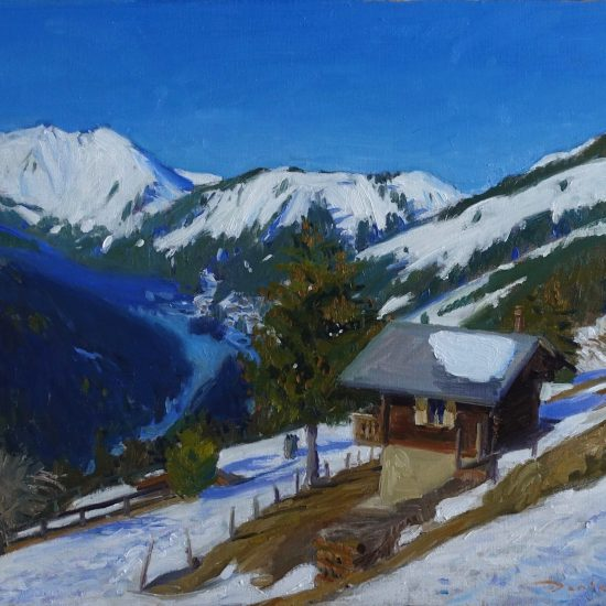 Oil painting of Morgins