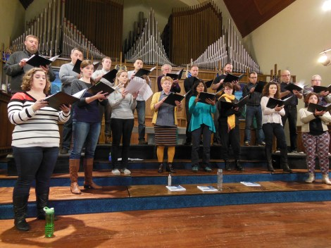 Vancouver Chamber Choir rehearses for the North American premiere of Trois Chansons.