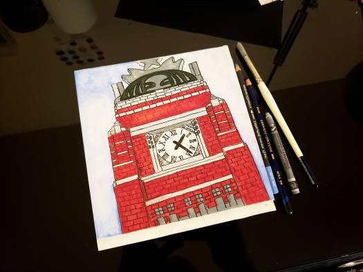 urban sketch starbucks headquarters clock tower
