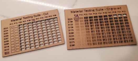 testing laser on cardboard
