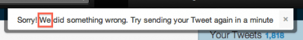 Twitter error message: we did something wrong