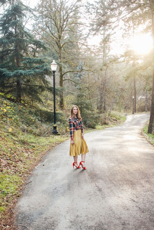 flannel and gold skirt 1 - Danielle Comer Blog