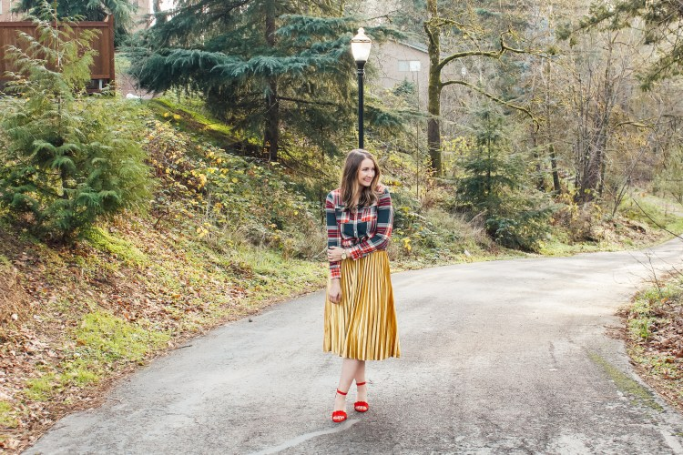 flannel and gold skirt 3 - Danielle Comer Blog