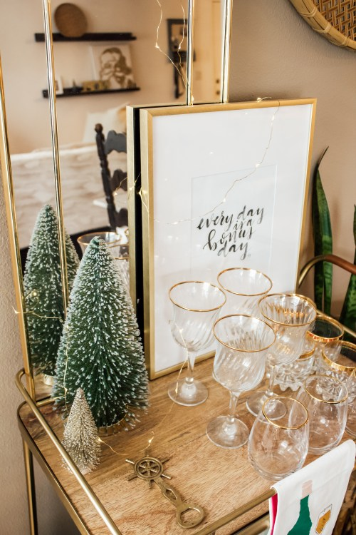 cozy winter decor target hearth and hand gold bar cart - Danielle Comer Blog.jpg