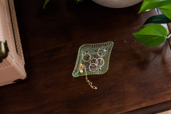 vintage green diamond dish-South by PNW Vintage
