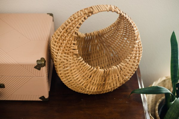 French gondola wicker plant basket-South by PNW Vintage