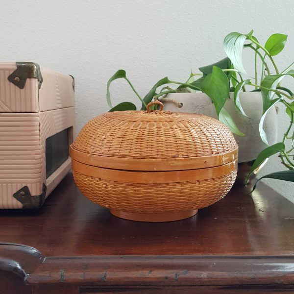 wicker round lidded basket-South by PNW Vintage