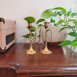 trumpet brass candlesticks - South by PNW Vintage