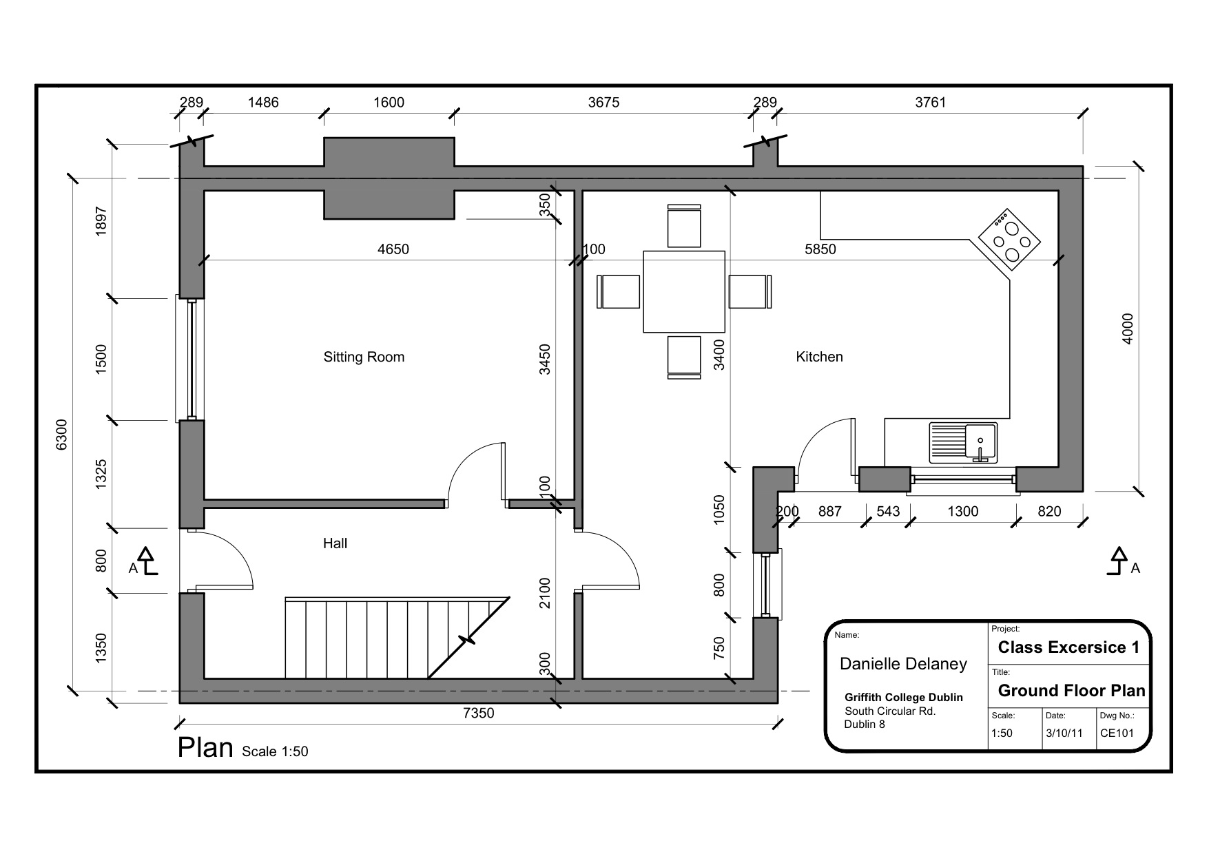 Class Exercise 1 Simple House Plan Plan A4