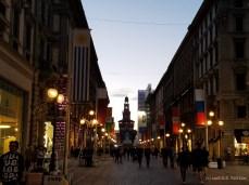 A shopping street in Milan