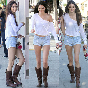 Kendall Jenner in veronica slouch frye boots