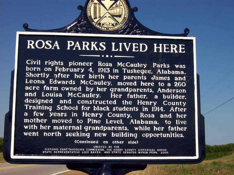 Historical marker documenting Rosa Parks's investigation of Recy Taylor's attack stolen