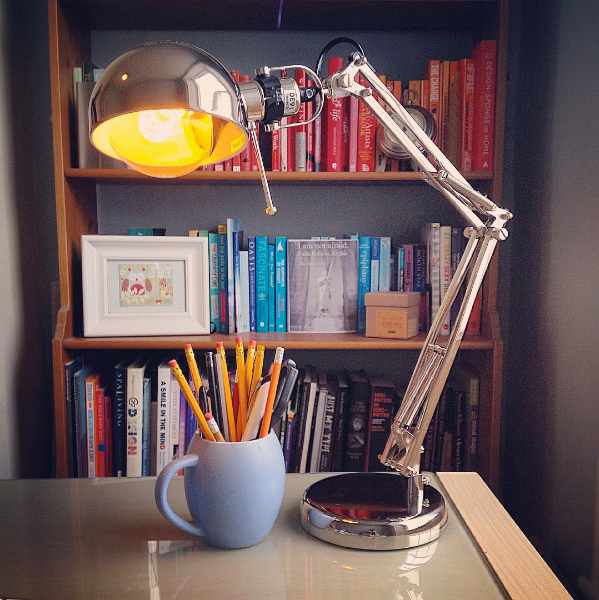 writing desk lamp bookshelf