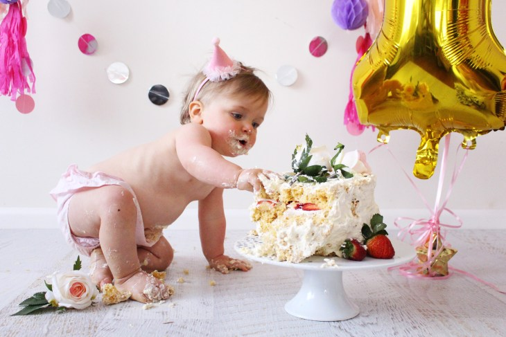 cake smash diy at home first birthday party decorations homemade sponge cake baby girl