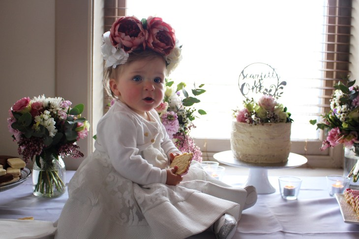 first birthday party bardot junior dress floral headpiece winter posies